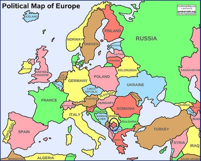 ¿Dónde está Kosovo? Mapa de Europa incluyendo Kosovo